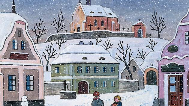Ladovská zima. Dětské radovánky v zasněžené vesnici patřily k oblíbeným Ladovým tématům, jako na tomto akvarelu z válečného roku 1944.