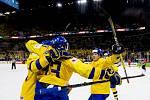 Radost švédských hokejistů v zápase s Ruskem.