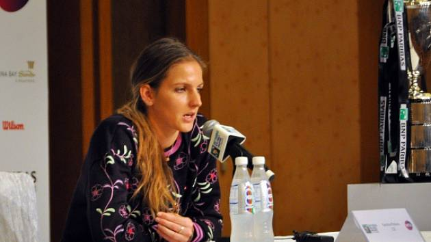 Karolína Plíšková na setkání s novináři před startem Turnaje mistryň.