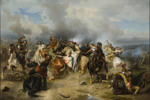 Smrt švédského krále Gustava Adolfa v bitvě u Lützenu na obraze švédského malíře Carla Wahlboma