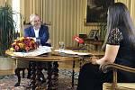 Miloš Zeman při natáčení pořadu S prezidentem v Lánech