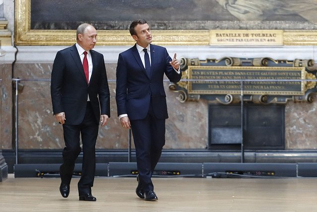 Emmanuel Macron po schůzce s Vladimirem Putinem