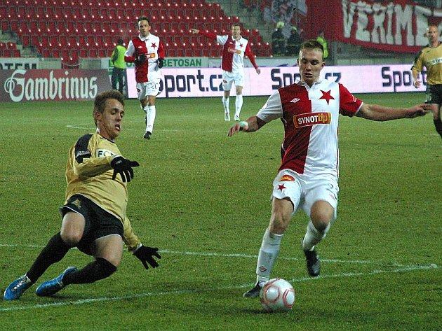 Fotbalisté Slavie v zápase Gambrinus ligy proti Brnu.