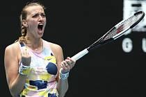 Česká tenistka Petra Kvitová se raduje z postupu do třetího kola Australian Open.