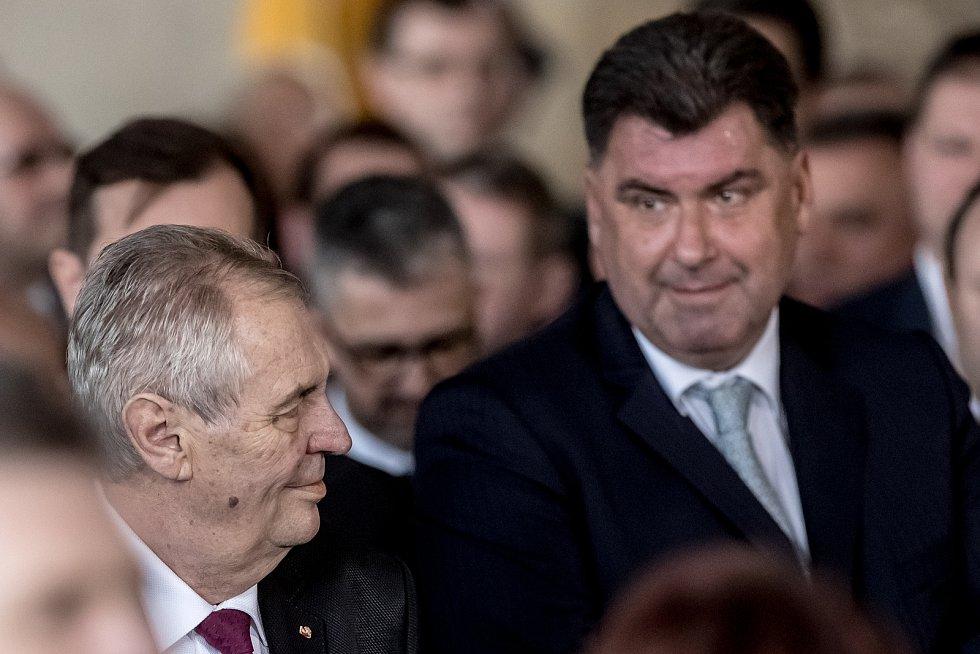 Inaugurace prezidenta Miloše Zemana pro jeho druhé funkční období probíhala 8. března ve Vladislavském sále Pražského hradu. Miloš Zeman, Martin Nejedlý