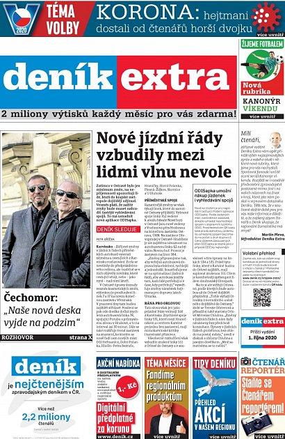 Titulní strana Deníku Extra, 12.září 2020