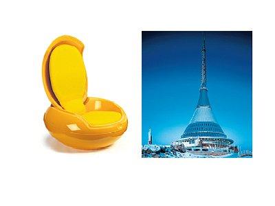 """EXPONÁTY: Zahradní """"vejcové"""" křeslo od Petera Ghyczyho, (1967–1968) (vlevo). Ještědská věž (1968–1973) navržená Karlem Hubáčkem."""