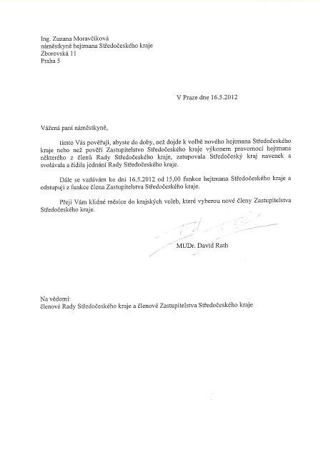 Dopis Davida Ratha, ve kterém oznámil rezignaci na hejtmana