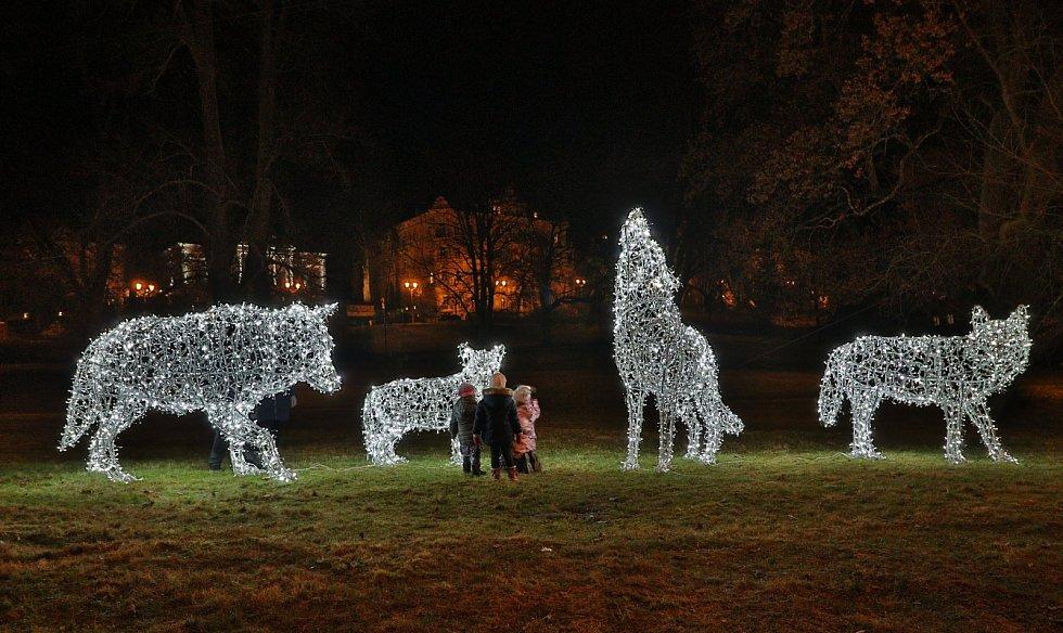 Děti obdivují novou vánoční výzdobu v Mariánských Lázních. Letos město nechalo nově instalovat vlčí smečku.