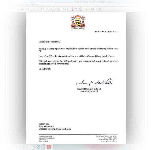 Dopis D. Duky T. Okamurovi