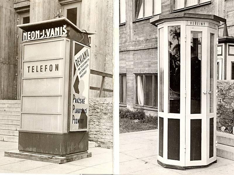 Nové konstrukce telefonních budek, asi 30. léta 20. století