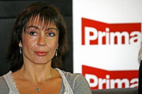 Herečka Nela Boudová během tiskové konference TV Prima, která 30. července představila své nové vysílací schéma.