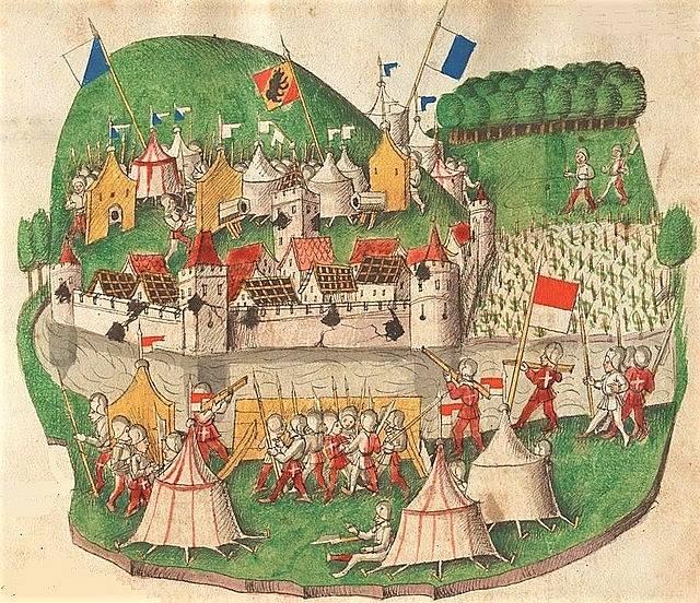 Ilustrace obležení Waldshutu, prozrazující mnoho detailů o pozdně středověkém válčení