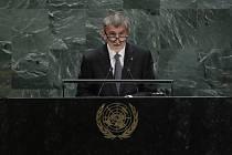 Český premiér Andrej Babiš při projevu na Valném shromáždění OSN