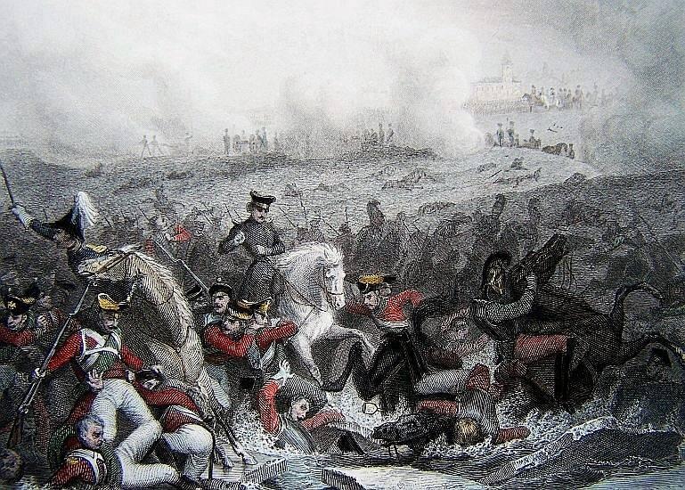 Pod prchající rakouskou armádou se bortí led na Žatčanském rybníku, obraz Thomase Campbella