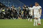Fotbalisté Šeriffu Tiraspol se radují z výhry nad Realem Madrid.
