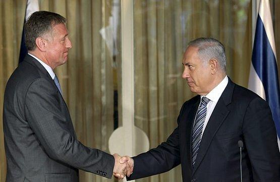 Odstupující český premiér Mirek Topolánek a izraelský premiér Benjamin Netanjahu