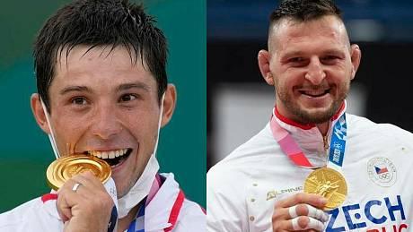 Čeští olympijští vítězové ze zlatými medailemi kajakář Jiří Prskavec (vlevo) a judista Lukáš Krpálek na kombinovaném snímku z 30. července 2021.