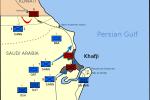 Mapa znázorňující vojenské operace k osvobození Chafdží