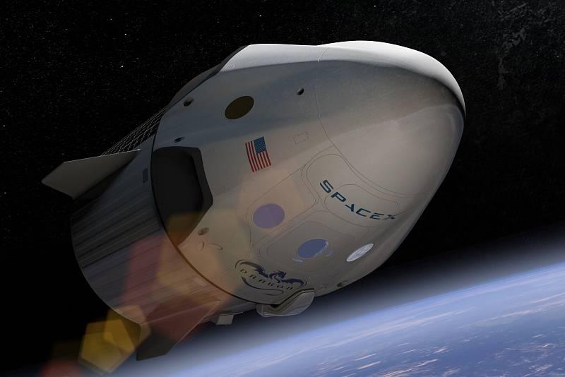 Umělecká představa lodi Crew Dragon na oběžné dráze.