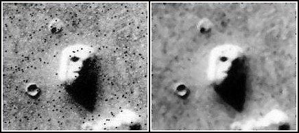 Původní snímek oblasti Cydonia na planetě Mars z roku 1976, který vzrušil svět - nachází se snad na jiné planetě obří reliéf lidské tváře?