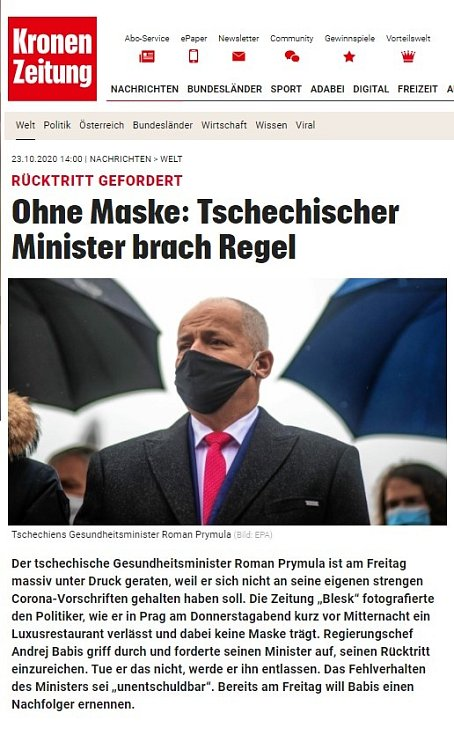 Světová média zaznamenala Prymulovu blamáž. Krone