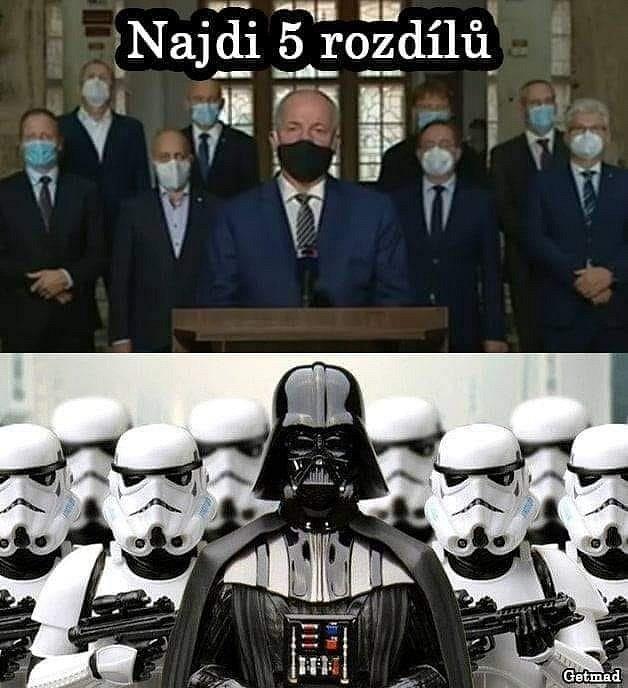 Ministr zdravotnictví Roman Prymula se svým týmem a Darth Vader se svým