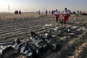 Záchranáři odnášejí tělo oběti nehody ukrajinského letounu, který se dnes zřítil krátce po startu z teheránského letiště
