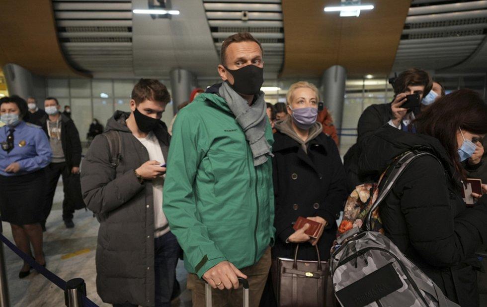 Alexej Navalnyj na letišti Šeremetěvo