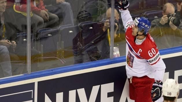 Tomáš Rolinek se raduje z gólu proti USA.