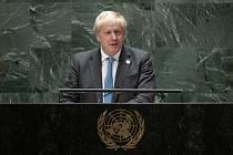 Britský premiér Boris Johnson na zasedání Valného shromáždění OSN v New Yorku 23. září 2021