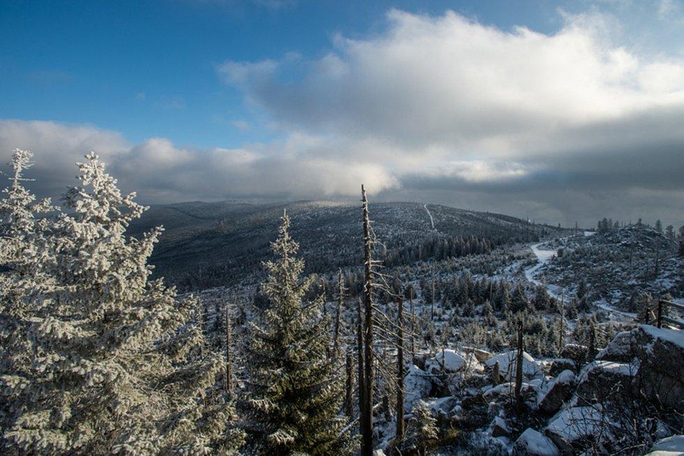 Poprašek přírodního sněhu na vrcholu šumavského Třístoličníku na snímku pořízeném 2. prosince 2019