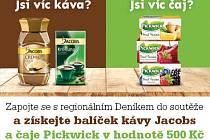 Zapojte se s regionálním Deníkem do soutěže a získejte balíček kávy Jacobs a čaje Piskwick v hodnotě 500 Kč.