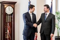 Předseda Sněmovny Radek Vondráček (vpravo) a předseda Sněmovny reprezentantů amerického Kongresu Paul Ryan.