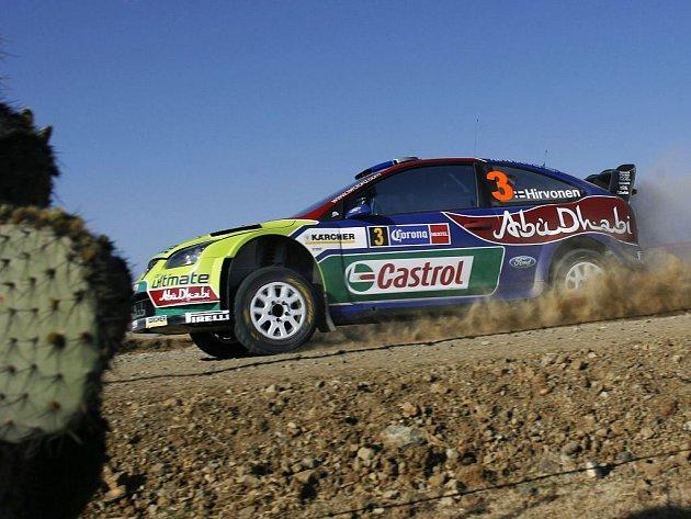 Mikko Hirvonen na trati úvodní etapy Rallye Mexiko.