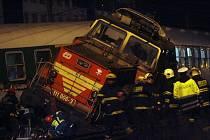 Nehoda rychlíku a lokomotivy na nádraží ve Vršovicích v Praze