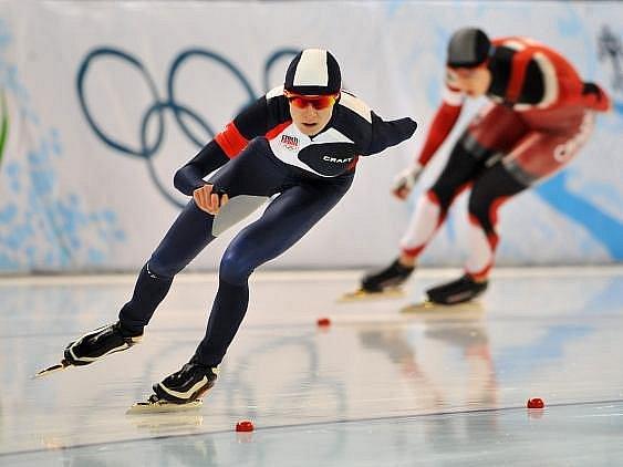 Martina Sáblíková v olympijském závodě na 1500 metrů.