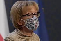 Zmocněnkyně pro lidská práva Helena Válková vystoupila 16. dubna 2020 v Praze na tiskové konferenci k problematice domácího násilí v době pandemie covid-19