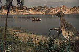 Trachodon z Cesty do pravěku. Tento dinosaurus patřil do čeledi hadrosauridů