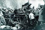 Rozdrcené vagony po železniční katastrofě v Saint-Michel-de-Maurienne