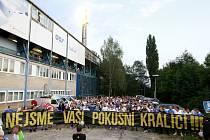 Protest fanoušků Baníku Ostrava před zápasem
