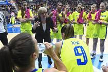 Utkání 13. kola Evropské ligy basketbalistek: USK Praha - Benátky, 19. února 2020 v Praze. Trenérka USK Praha Natália Hejková.
