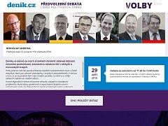 Před letošními krajskými a senátními volbami organizuje Deník vydavatelství VLTAVA LABE MEDIA velkou předvolební diskusi předsedů hlavních politických stran.