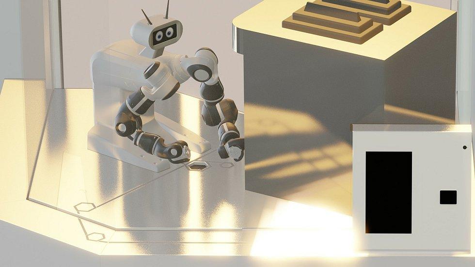 Vizualizace robotího stánku.