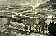kresba Hitlerovy dálnice mezi Rozstáním a Městečkem Trnávkou od Emericha Schaffrana