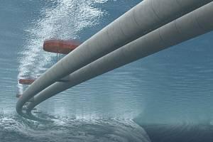 Vizualizace plovoucího tunelu v Norsku