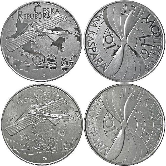 Česká národní banka vydává k výročí 100 let od prvního dálkového letu Jana Kašpara pamětní stříbrnou minci v nominální hodnotě 200 korun.