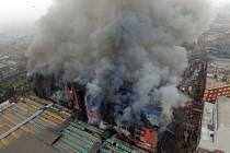 Požár v Limě, hlavním městě Peru