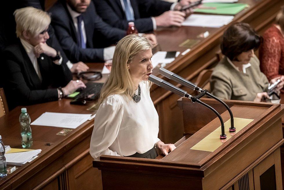 Jednání Sněmovny o žádost o vyslovení souhlasu s trestním stíhání poslanců Andrej Babiš a Jaroslava Faltýnka 19. ledna v Praze. Valachová