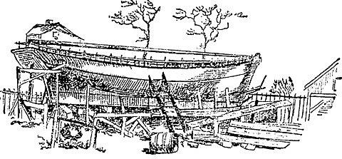 Slocum staví svou loď, dobová kresba